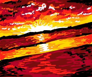 Bright red sunset