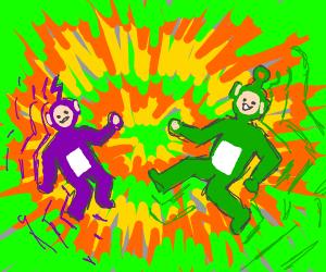 Green purple teletubbies trippin on acid