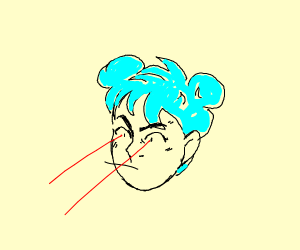blue-haired girl with 2 buns firing red lazer
