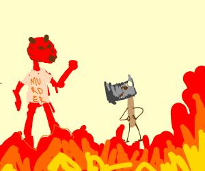 Satan threatens machete