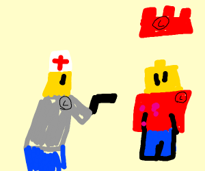 lego man gets a shot from lego doctor