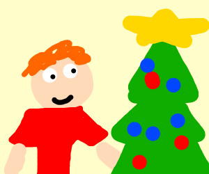 man with red hair and red shirt next to tree