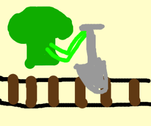 Broccoli digging into the Tracks