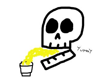 Skull eats instant ramen from cup