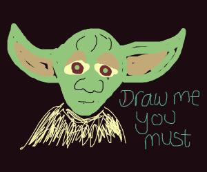 close up of Yoda's face