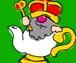 king inside tea pot