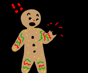 Gingerbread man's hand is gone!