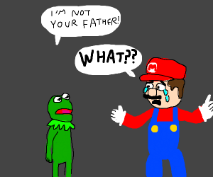 Kermit is not Mario's real dad, come ON!