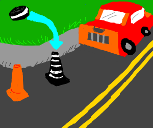 Traffic pylons are actually made from oreos
