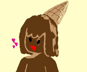 Happy Chocolate Ice Cream Girl