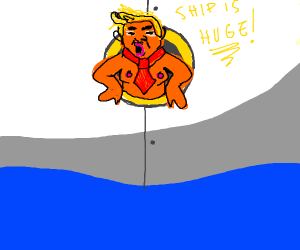 Angry Trump in ships port hole