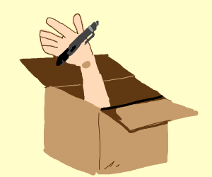 a box with a hand sticking out with a pen