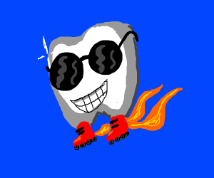 Cool tooth skater flying with fire propulsion