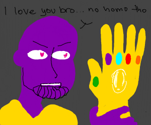 Thanos and the gauntlet have a bromance