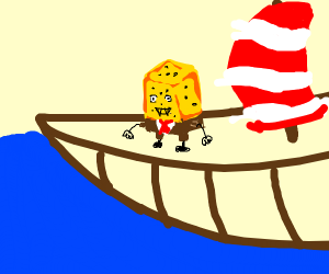 Spongebob has long teeth on a viking longboat