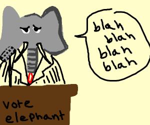 elephant politician gives a speech