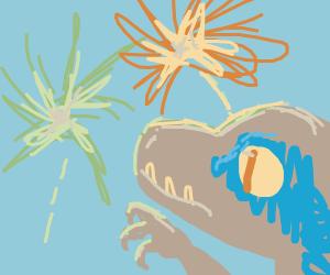 dinosaur watching fireworks
