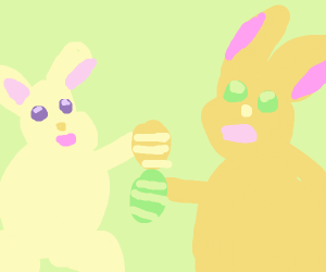 Bunnies Celebrating Easter