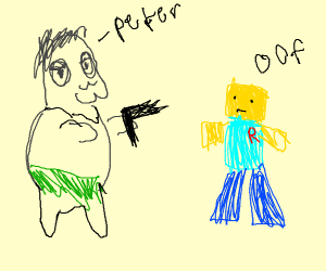 Peter from familly guy is Shooting robloxNoob