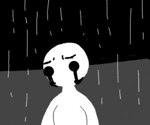 depressed lady in the rain