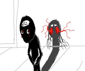 creep guy with no brain has creepy shadow