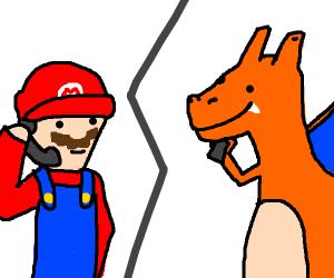 Mario calls Charizard