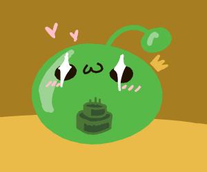 slime eating cake