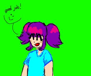 anime girl saying good job