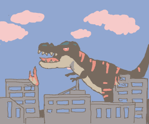 Dinosaur destroying city