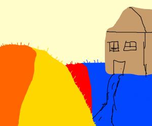 Multicolored grass on a hill