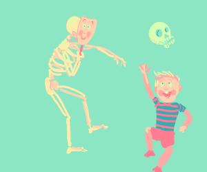 skele with kid mask or kid throwing up skull?