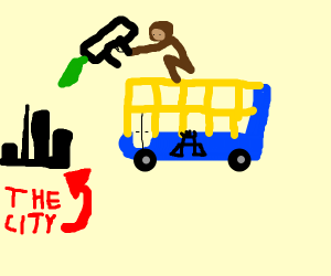 Monkey riding a bus is wrecking the city