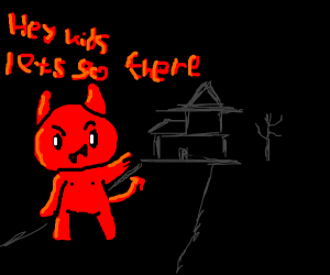 Devil tempting kid to go to a house