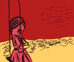 lonely girl on swing at bloody beach
