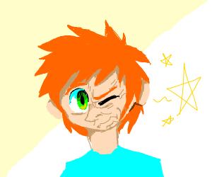 ginger kid winking