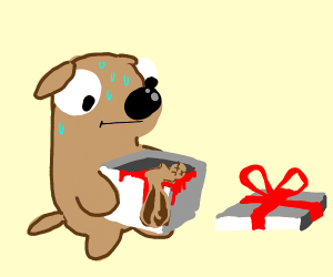 dog gets a dead squirrel for christmas