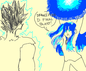 blue haired anime girl fights goku???