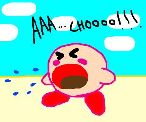 Kirby sneezes