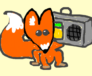 really cute fox listens to music