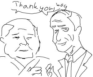 old men saying thank B O Y