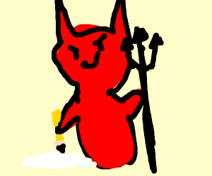 satan doing a picture