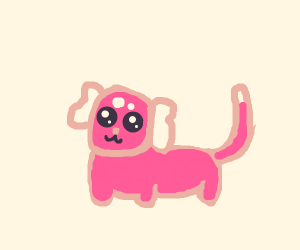 magenta dog with long tail