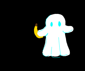 a banana being held by a ghost
