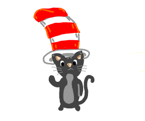 The cat in the hat, but with a real cat