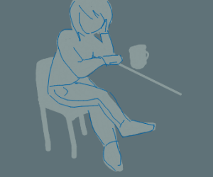 Lonely woman drinking coffee