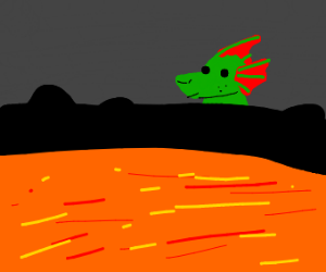 Baby dragon looks into the volcano
