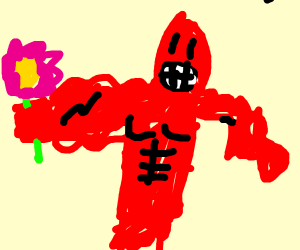Buff red man with a flower