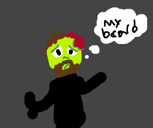 A zombie is self conscious of his beard