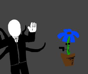 Flower shoots Slenderman