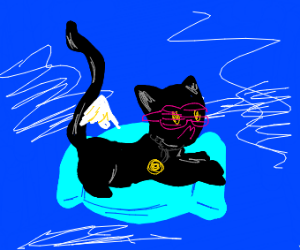 Cool Cat flying on a blue pillow
